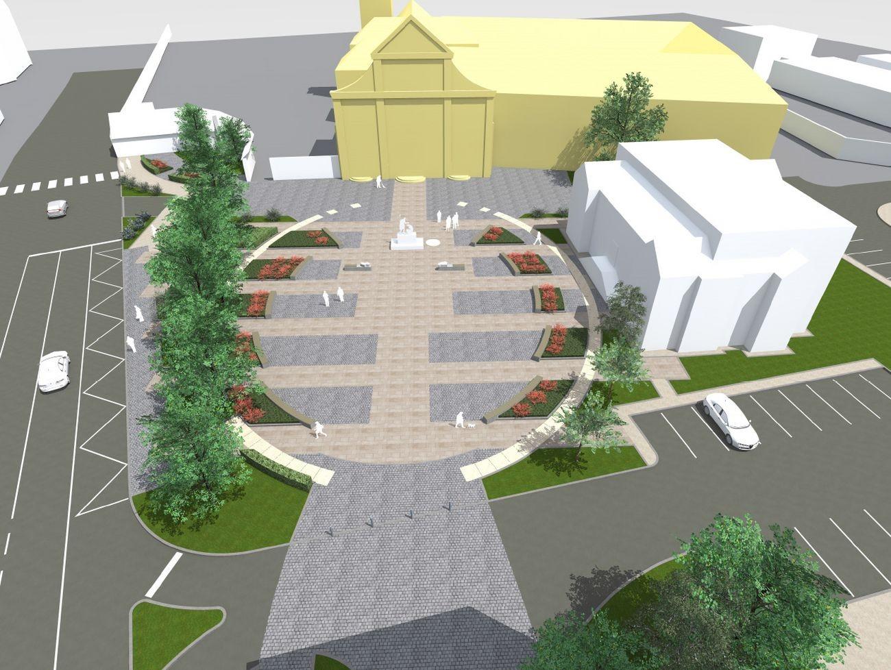 A Szent Márton-templom alőtti tér látványterve