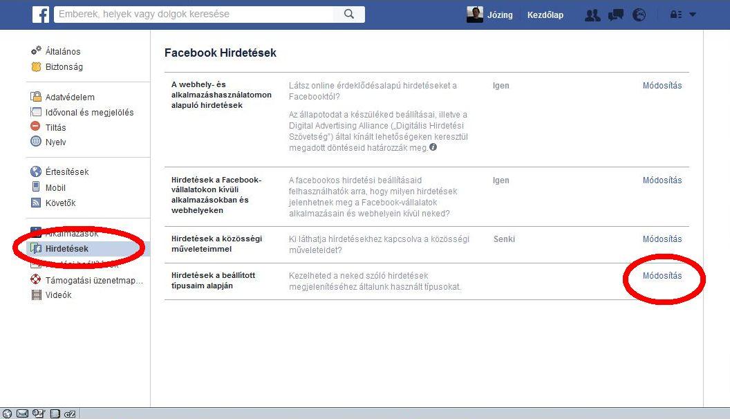 Facebook képernyő