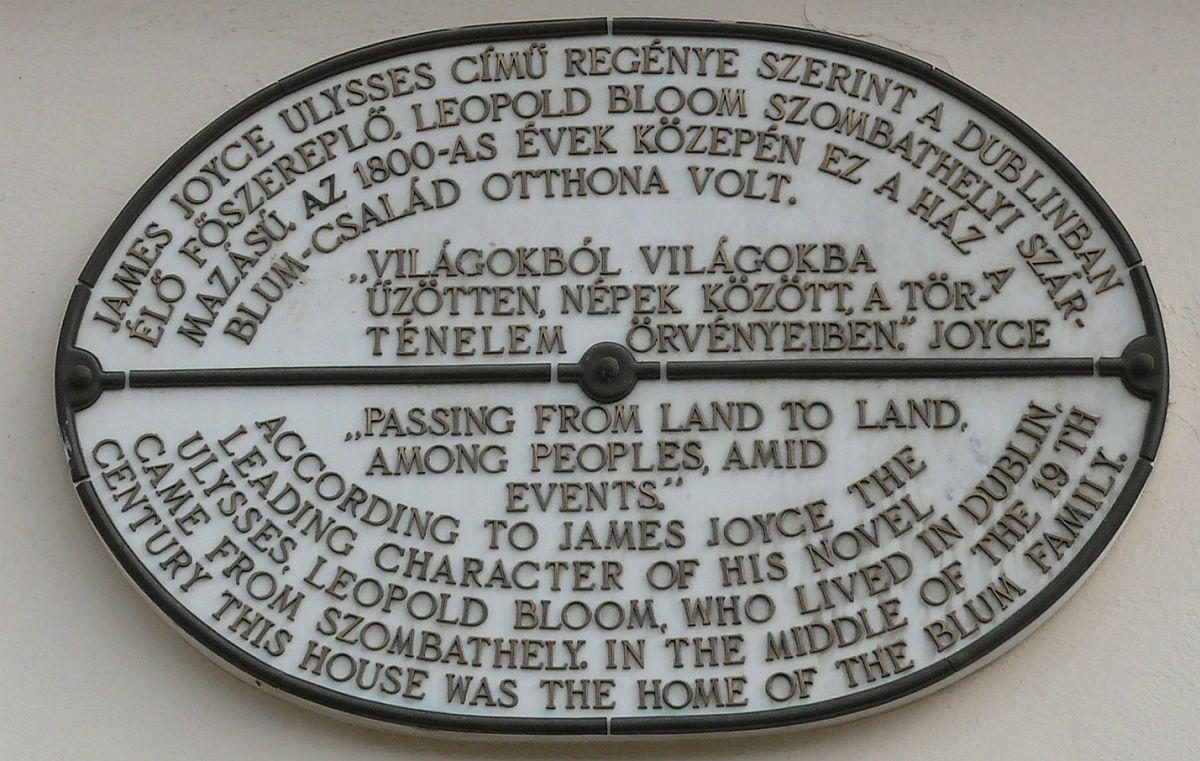 James Joyce-emléktábla a szombathelyi Fő tér 41. számú házon