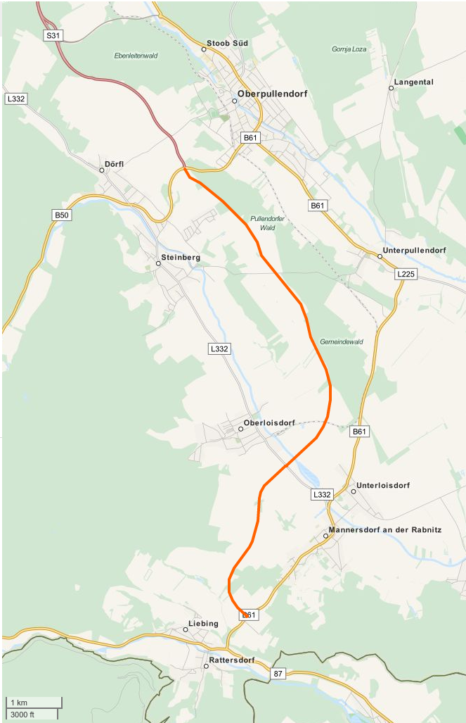 A B61a út nyomvonala (Forrás: Wikipedia.at.)