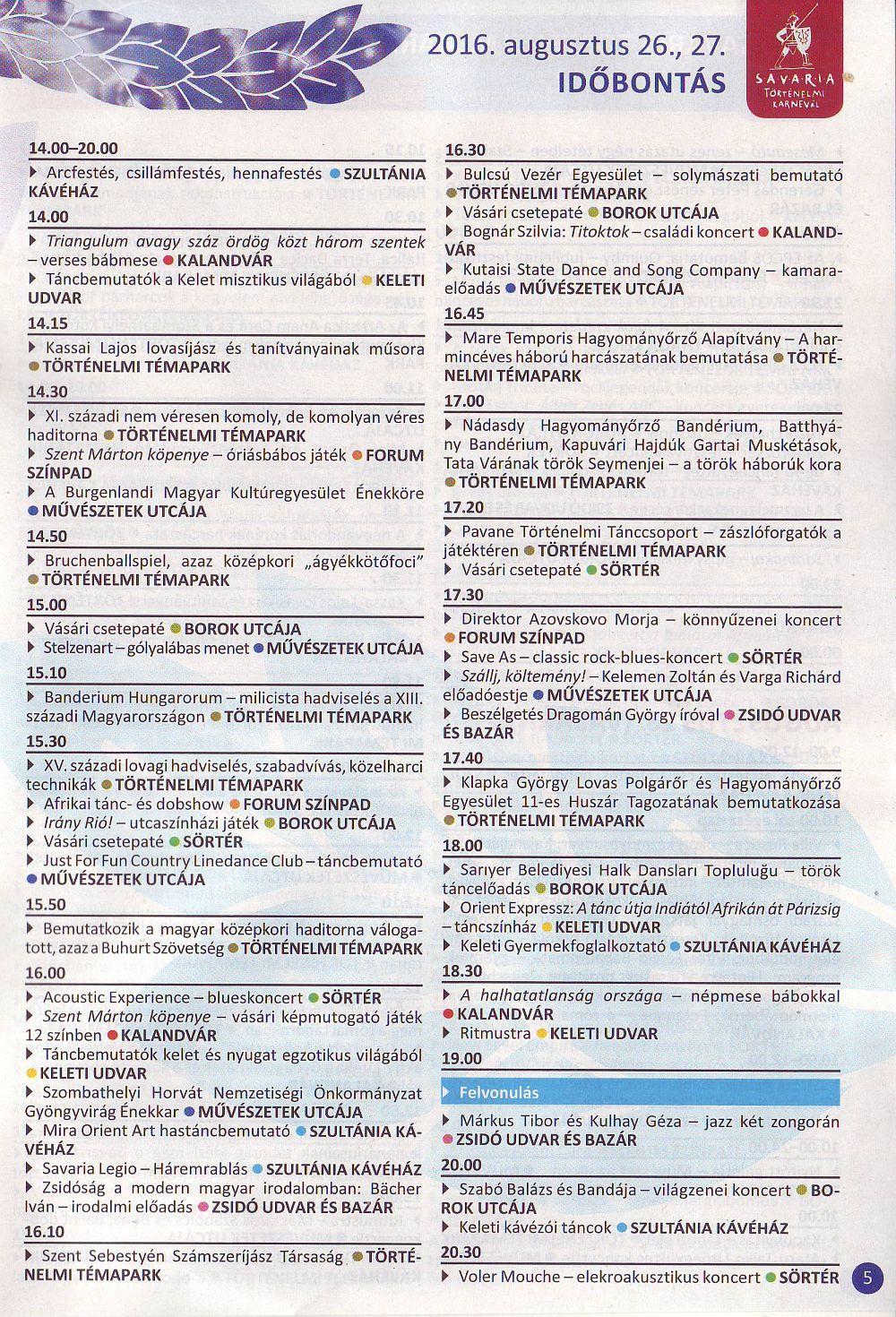 Savaria Karnevál programok