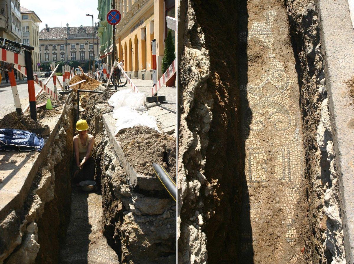 Római kori mozaik feltárása Szombathely belvárosábaan (2005). A mozaikokat később visszatemették.