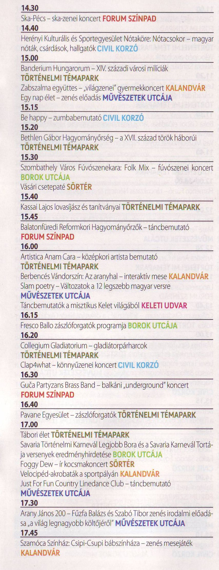 Savaria karnevál program (2017)