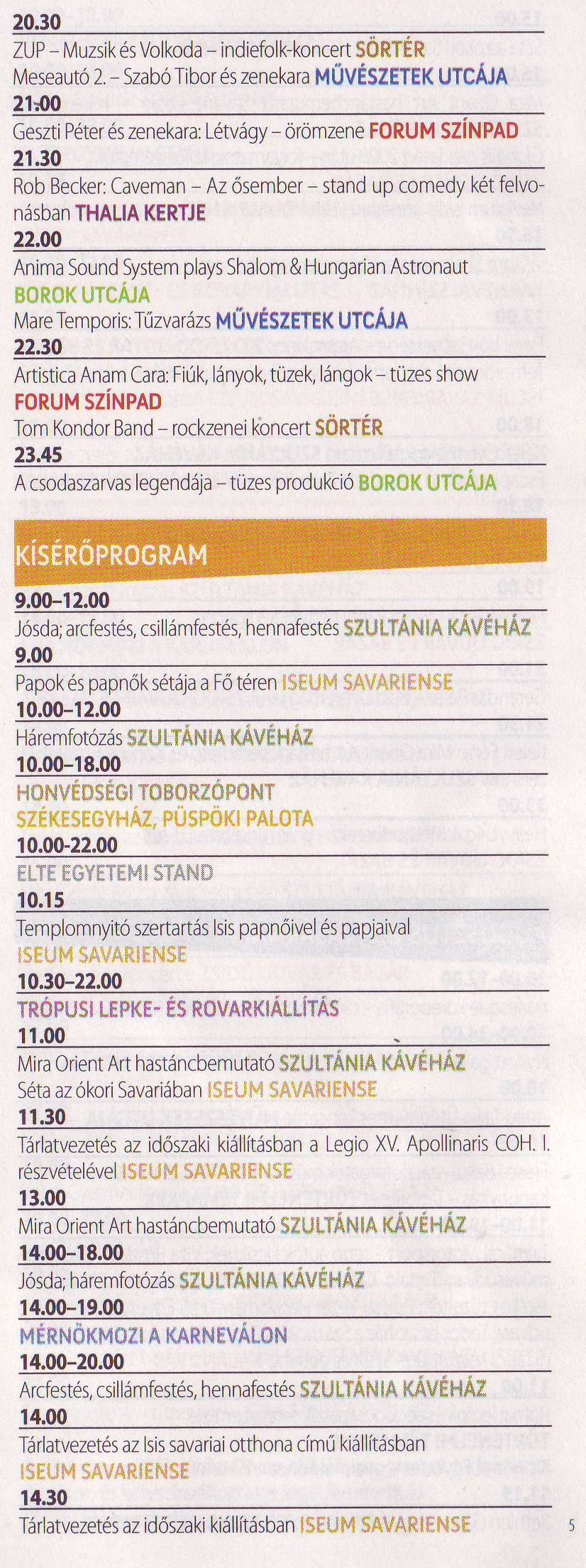 Savaria Karnevál program 2017