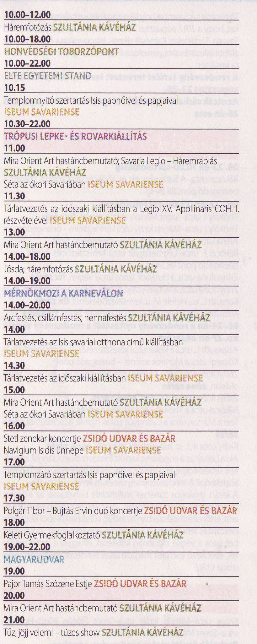 Savaria Karnevál programok 2017
